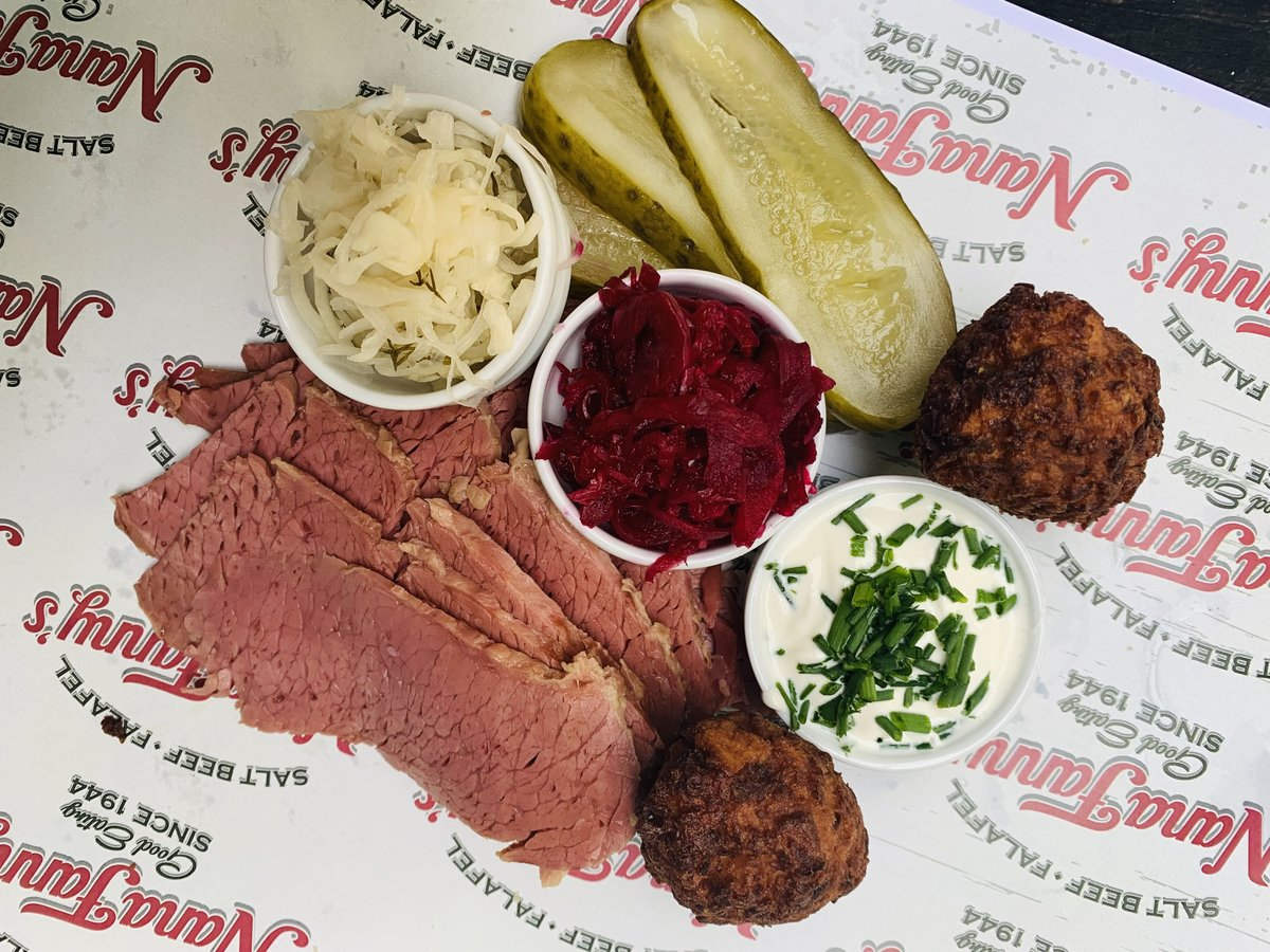 image showing salt beef platter includes pickles, latkes and tastes absolutely amazing. Available at our Borough Market location