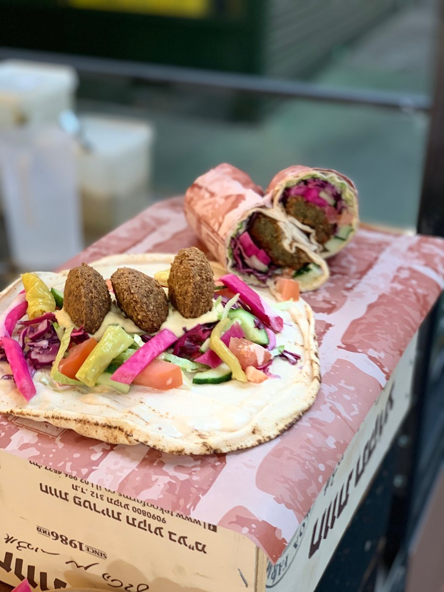 image showing really tasty falafel wraps and salads which can be gluten free are both suitable for a vegan and vegetarian diet. Londons best