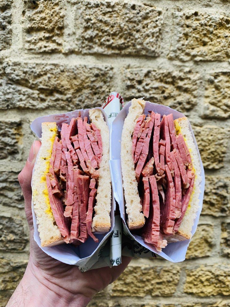 image showing Salt beef on rye bread. Londons best salt beef sandwich based in Borough Market