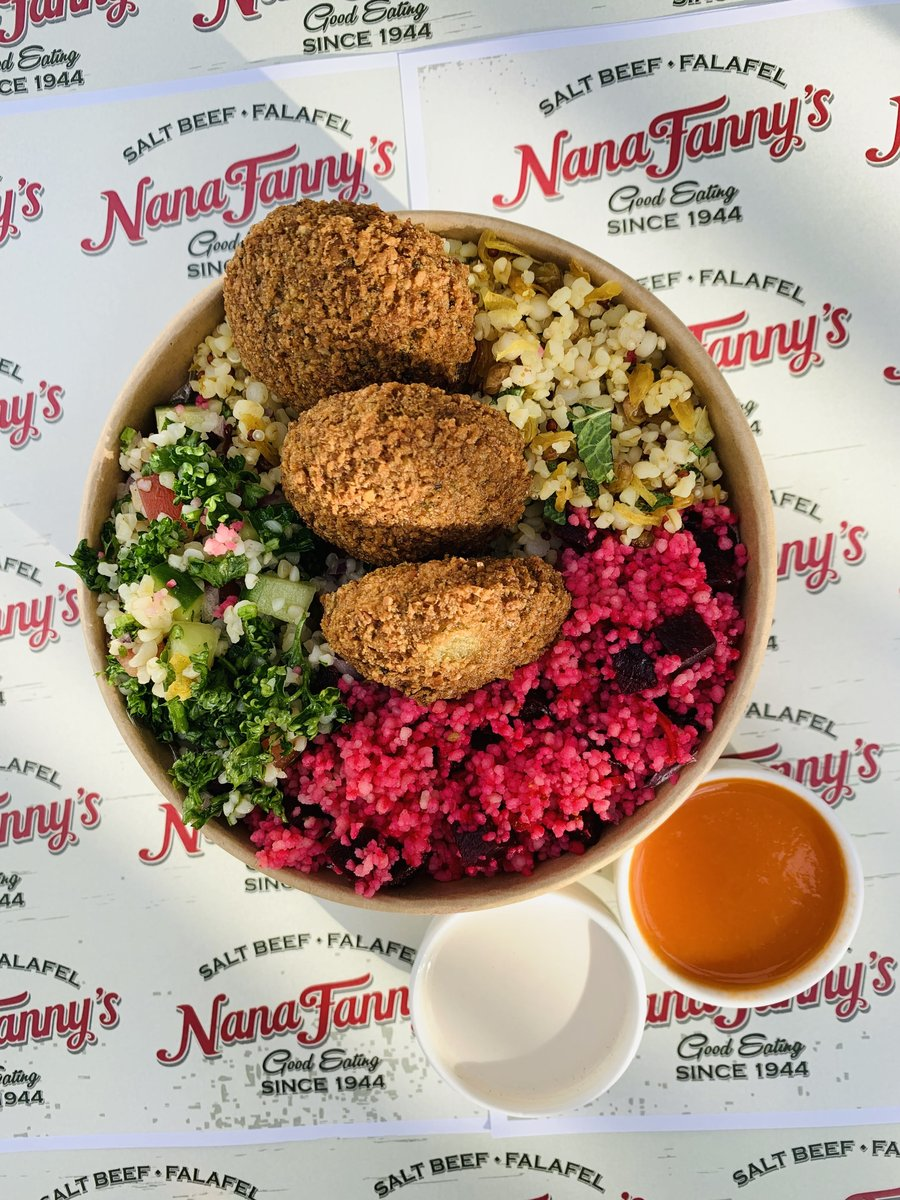image showing falafel salad can be served with our middle eastern salads. Bulgar wheat and cous cous. A perfect vegetarian meal available at Borough Market every da
