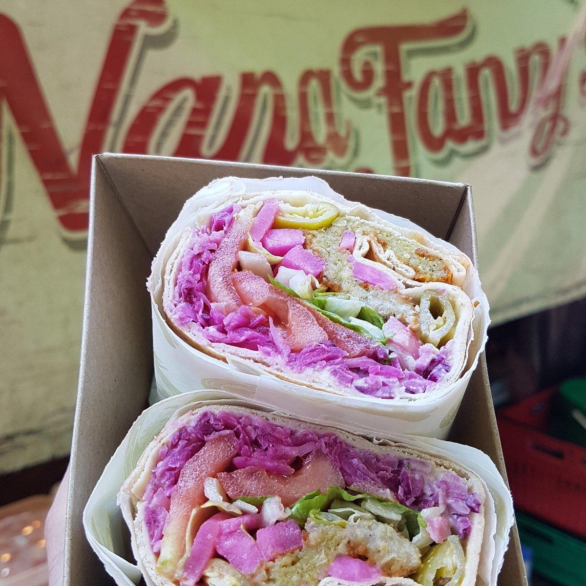 image showing Falafel wraps are available at Borough Market. Award winning falafel suitable for vegan and vegetarians