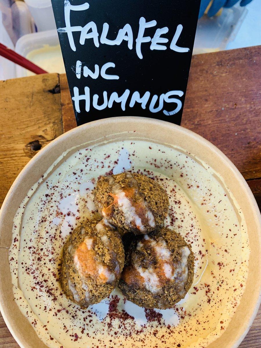 image showing vegan and vegetarian falafel served with hummus and sumac. Londons best falafel. We have an extensive vegetarian menu and Nana Fannys Borough Market