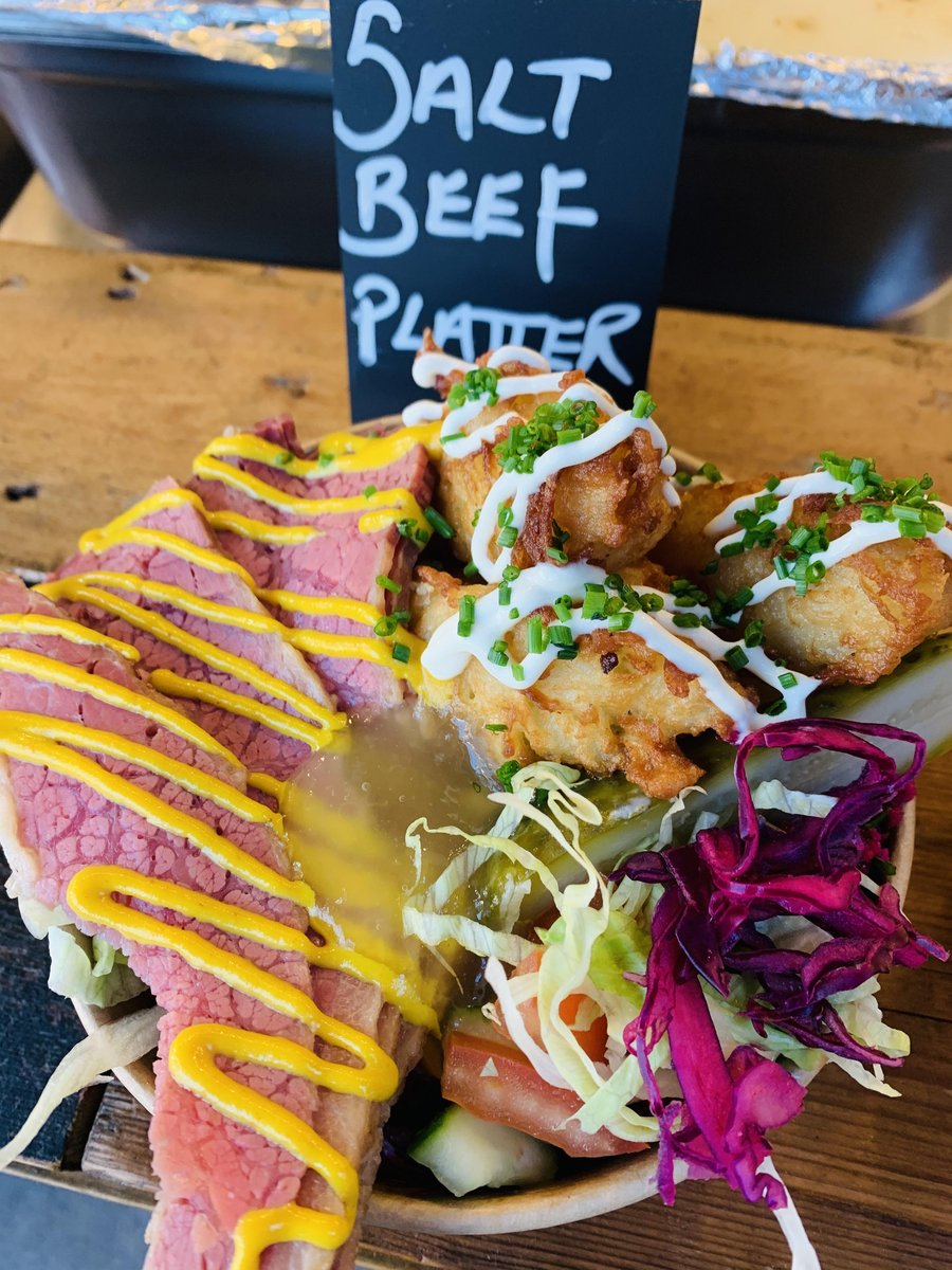 image showing Salt beef platter has become our best selling item from our deli menu. Served with latkes and salads