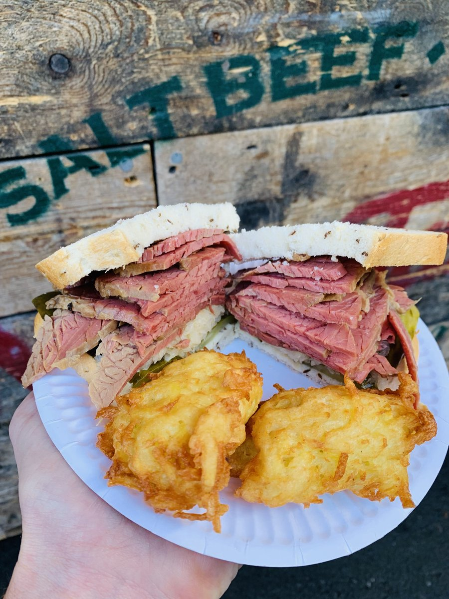 image showing Salt beef on rye served with potato latkes available at Borough Market