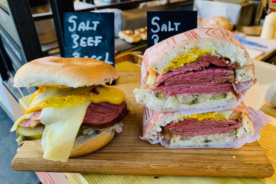 An image of Next day delivery of salt beef, pastrami, latkes, schnizels, pickles, sauerkraut and sauces goes here.