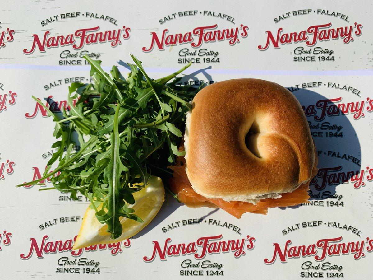 image showing Smoked Salmon and cream cheese bagel served at Nana Fannys Borough Market