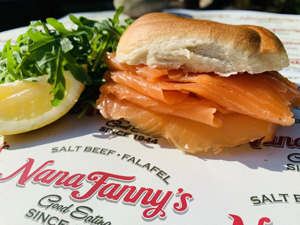 image showing Smoked salmon bagel. Our breads and bagels are delivered hot and fresh every day from Brick Lane Bagels